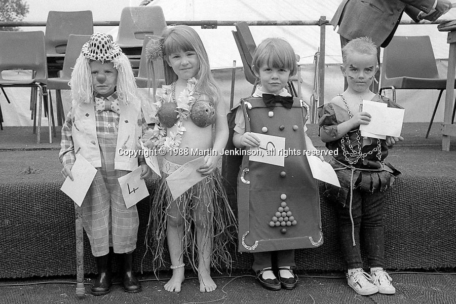 Under 8yrs Fancy Dress left to right;   4th Steven Brooke, Sharlston; 3rd Jenny Edwards, Whitemoor; 1st Rebecca Ann Mills, Frickley; 2nd David Sagar, Woolley.1988 Yorkshire Miner's Gala. Wakefield.