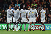 Goal - Romelu Lukaku (9) of Manchester United celebrates scoring a goal to give a 0-2 lead to the away team  with his Manchester United team mates during the Premier League match between Bournemouth and Manchester United at the Vitality Stadium, Bournemouth, England on 18 April 2018. Picture by Graham Hunt.