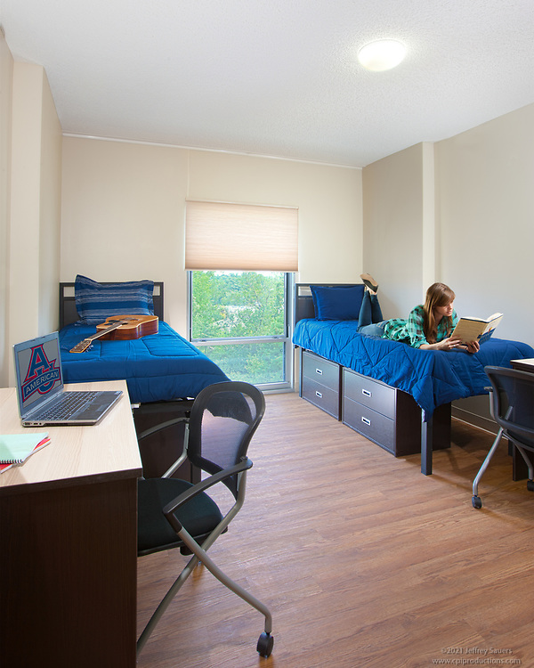 Interior image of  Cassell Hall dorm room at American University in Washington DC by Jeffrey Sauers of Commercial Photographics