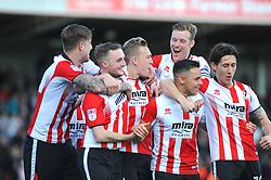 Danny Wright of Cheltenham Town celebrates his goal with team mates - Mandatory by-line: Nizaam Jones/JMP- 01/04/2017 - FOOTBALL - LCI Rail Stadium - Cheltenham, England - Cheltenham Town v Morecambe - Sky Bet League Two