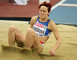 Long jump athlete Jana Veldakova of Slovakia in the Qualification at the 1st day of  European Athletics Indoor Championships Torino 2009 (6th - 8th March), at Oval Lingotto Stadium,  Torino, Italy, on March 6, 2009. (Photo by Vid Ponikvar / Sportida)