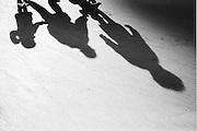 Skaters. Bryant Park, New York. <br /> Black & white print.