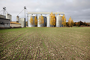 agricultural grain silos during autumn season France Languedoc
