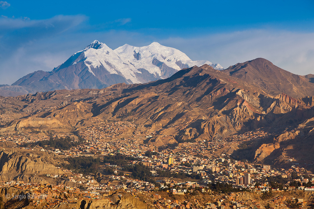 Mt. Illimani at sunset as seen from La Paz, Bolivia.  The southernmost extension of the Cordillera Real is anchored by Mt. Illimani, the sentinel of La Paz.