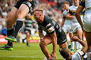 Hull FC prop Liam Watts (10)  scores a try and celebrates during the Challenge Cup 2017 semi final match between Hull RFC and Leeds Rhinos at the Keepmoat Stadium, Doncaster, England on 29 July 2017. Photo by Simon Davies.