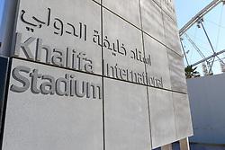 26.01.2015, Doha, QAT, FIFA WM, Katar 2022, Vorberichte, im Bild ein Schild vor dem Khalifa International Stadium // Preview of the FIFA World Cup 2022 in Doha, Qatar on 2015/01/26. EXPA Pictures © 2015, PhotoCredit: EXPA/ Sebastian Pucher