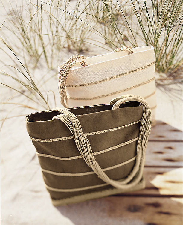 Photograph of two handbags on a boardwalk on the beach. Picture captured for the Mark, Fore & Strike fashion catalog.