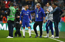 February 24, 2019 - London, England, United Kingdom - Chelsea manager Maurizio Sarri  having words with Chelsea's Eden Hazard.during during Carabao Cup Final between Chelsea and Manchester City at Wembley stadium , London, England on 24 Feb 2019. (Credit Image: © Action Foto Sport/NurPhoto via ZUMA Press)