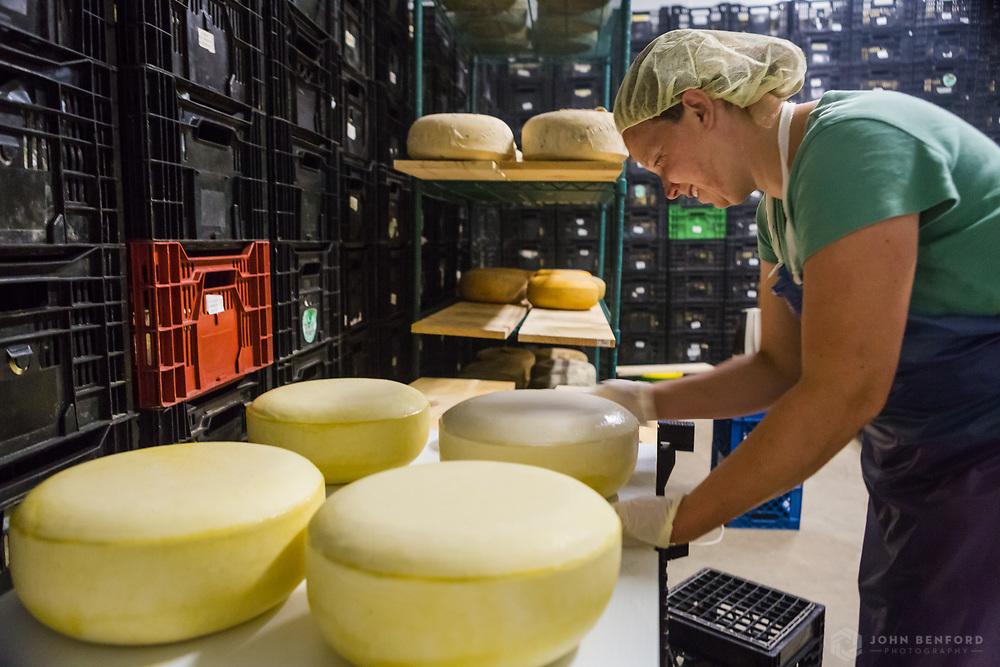 Farmer Caterina Mahoney of Brookford Farm applies wax to a wheel of gouda cheese.