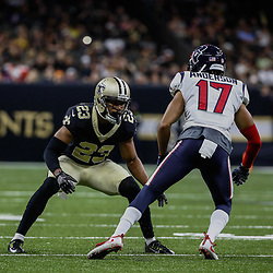 Aug 26, 2017; New Orleans, LA, USA; New Orleans Saints cornerback Marshon Lattimore (23) Houston Texans wide receiver Dres Anderson (17) during the first quarter of a preseason game at the Mercedes-Benz Superdome. Mandatory Credit: Derick E. Hingle-USA TODAY Sports