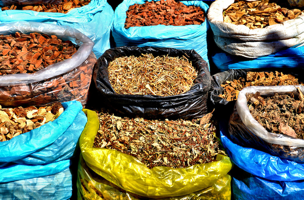 Spices in Colorful Sacks at Outdoor Market in Kampong Cham, Cambodia <br /> I assume these are spices displayed in colorful plastic sacks at an outdoor market in Kampong Cham, Cambodia, an impoverished city along the Mekong River between Siem Reap and the capital city of Phnom Penh.