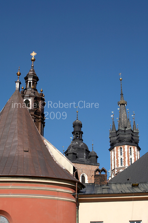 East Europe Poland Krakow Archiecture Buildindgs St Mary's Church viewed from Maly Rynek