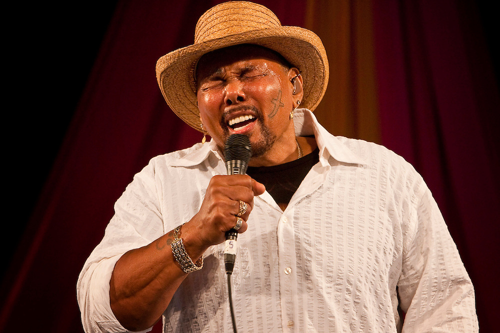 New Orleans soul, gospel and R&B singer Aaron Neville performs on the Gospel Tent stage during the New Orleans Jazz & Heritage Festival at the Fairgrounds Race Course in New Orleans, Louisiana, USA, 1 May 2009.