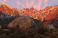 14497 ft Mount Whitney from the Alabama Hills, Sierra Range, CA in late winter