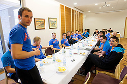 Uros Zorman, Dragan Gajic at lunch at training camp of Slovenian Handball National team before World Cup 2013 in Spain, on December 28, 2012 in Hotel Dobrava, Zrece, Slovenia. (Photo By Vid Ponikvar / Sportida.com)