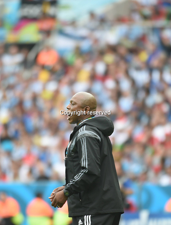 25.06.2014. Porto Alegre, Brazil.  Nigerias coach Stephen Keshi gives instructions during a Group F match between Nigeria and Argentina of 2014 FIFA World Cup at the Estadio Beira-Rio Stadium in Porto Alegre, Brazil, on June 25, 2014.