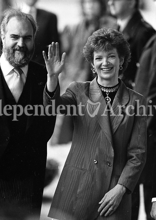 President-Elect Mary Robinson arriving at her Inauguration at St Patrick's Hall, Dublin Castle, 03/12/1990 (Part of the Independent Newspapers Ireland/NI Collection).