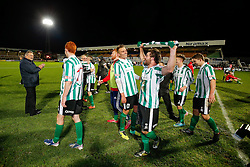 Damen Mullen of Blyth Spartans celebrates with teammates after his side win 1-2 to progress to the next round of hte FA CUP - Photo mandatory by-line: Rogan Thomson/JMP - 07966 386802 - 05/12/2014 - SPORT - FOOTBALL - Hartlepool, England - Victoria Park - Hartlepool United v Blyth Spartans - FA Cup Second Round Proper.