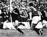 Matthew Ridge on way to his only try for New Zealand, All Blacks v Connacht, Galway. All Blacks tour to the British Isles, 14 November 1989. Photo: PHOTOSPORT/Peter Bush