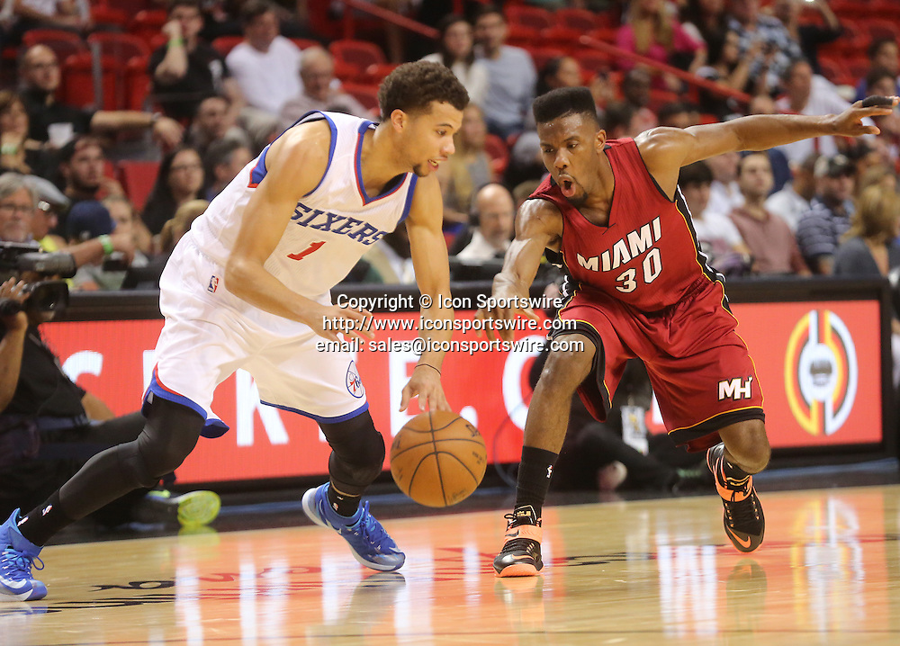 Dec. 23, 2014 - Miami, FL - Florida, USA - United States - fl-heat-76ers-1223h -Norris Cole  of the Miami Heat guards Michael Carter-Williams of the Philadelphia 76ers