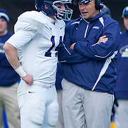 Georgia Southern QB (#14) Jaybo Shaw and Georgia Southern Head Coach Jeff Monken going over the play during The Division I FCS Championship Semifinals at Delaware. No. 3 Delaware defeats Georgia Southern 27-10 on a cold Saturday afternoon at Delaware stadium in Newark Delaware...Delaware will head to Texas for the Division I FCS National Championship Game Vs Eastern Washington eagles who defeated Villanova 41-31 friday night in Washington..