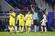 Yellow card Álvaro of Villarreal and Referee Victor Kassai during the UEFA Europa League, Round of 32, 1st leg football match between Olympique Lyonnais and Villarreal on February 15, 2018 at Groupama stadium at Decines-Charpieu near Lyon, France - Photo Romain Biard / Isports / ProSportsImages / DPPI