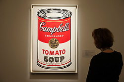 """© Licensed to London News Pictures. 28/01/2016. London, UK.   """"Large Campbell's soup can"""" by Andy Warholl (est. £4.5-6.5m), on display at Sotheby's preview of its upcoming Impressionist, Modern & Surrealist art sale on 3 February featuring works by some of the most important artists of the 20th century.  The combined total of the evening sale is expected to exceed £100m. Photo credit : Stephen Chung/LNP"""