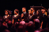Conducted by William Henry Caldwell, the Central State University Chorus provides the finale for the 2012 Dayton Literary Peace Prize dinner and awards presentation at the Schuster Center in downtown Dayton, Sunday, November 11, 2012.