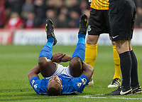 Football - 2016 / 2017 FA Cup - Third Round: Brentford vs. Eastleigh<br /> <br /> Gavin Hoyte of Eastleigh FC after conceding the penalty goes down injured at Griffin Park.<br /> <br /> COLORSPORT/DANIEL BEARHAM