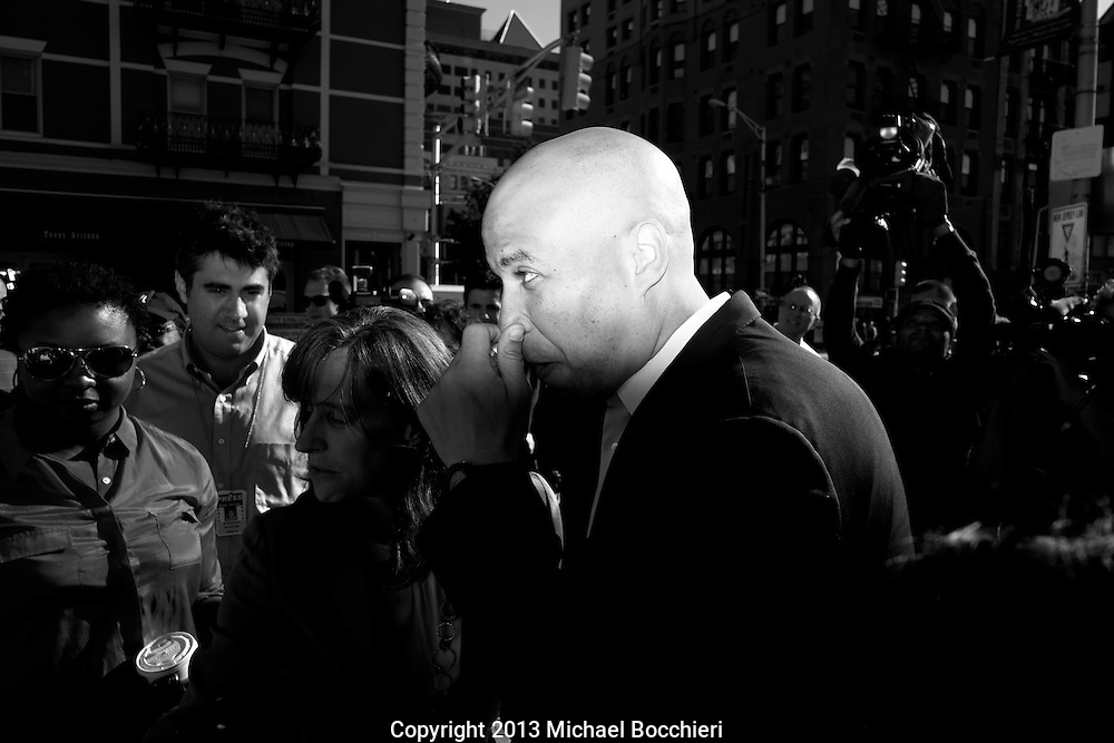 HOBOKEN, NJ - AUGUST 14:  Newark Mayor Corey Booker greets people along with Hoboken Mayor Dawn Zimmer at the Hoboken PATH station after winning the Democratic primary for U.S. Senate on August 14, 2013 in Hoboken, New Jersey. Booker will face off in a special October election against Republican challenger, former Bogota, NJ mayor Steve Lonegan to fill the empty U.S. Senate seat formerly held by U.S. Sen. Frank Lautenberg, who died on June 3rd. (Photo by Michael Bocchieri/Bocchieri Archive)
