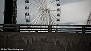 A stroll along Seattle's waterfront during the final construction of the Great Wheel ferris wheel early Summer 2012.