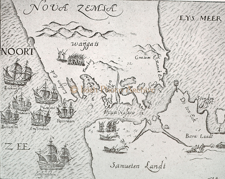 Map of New Zembla from a Journal of 1595.  It shows 7 ships on an expedition from Amsterdam.  They are passing the Strait of Nassau.  Also shown are landing parties with explorers and hunters. Nova Zembla Island ('New Land') is an uninhabited island in the Qikiqtaaluk Region of Nunavut, Canada. It is located in Baffin Bay off the north-eastern coast of Baffin Island.
