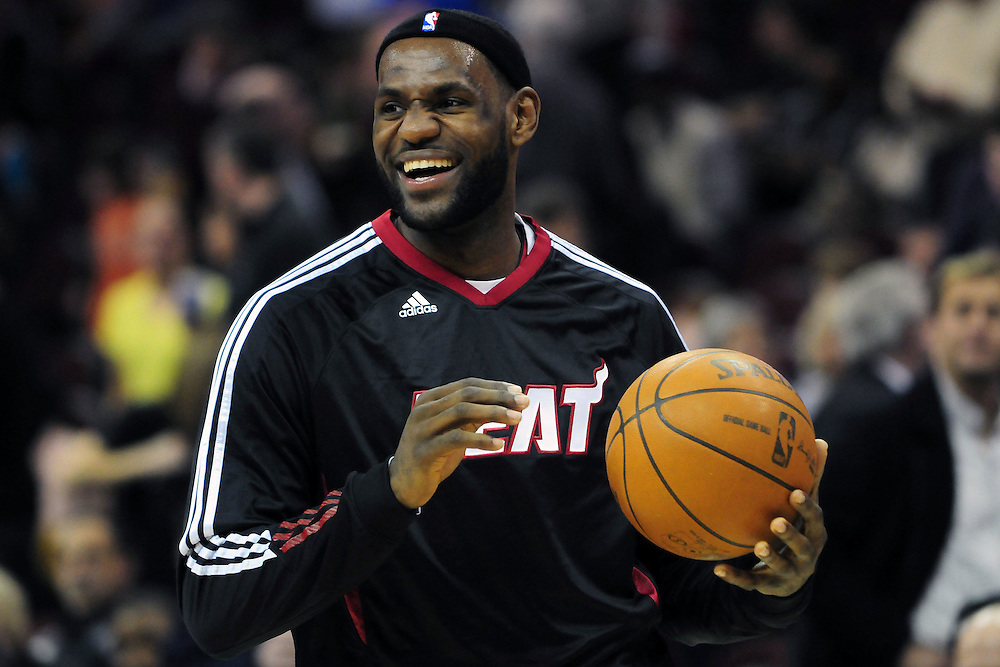 March 29, 2010; Cleveland, OH, USA; Miami Heat small forward LeBron James (6) prior to the game against the Cleveland Cavaliers at Quicken Loans Arena. Mandatory Credit: Jason Miller-US PRESSWIRE