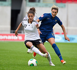 LLANELLI, WALES - Wednesday, August 28, 2013: Germany's Manjou Wilde in action against France's Claire Lavogez during the Semi-Final match of the UEFA Women's Under-19 Championship Wales 2013 tournament at Parc y Scarlets. (Pic by David Rawcliffe/Propaganda)
