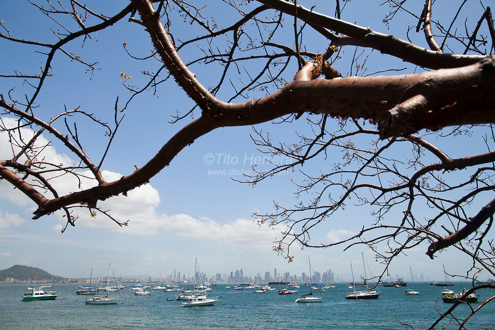 View of the bay of Panama City from the Causeway of Amador, in the Pacific Ocean side entrance of the Panama Canal. Photo by Tito Herrera