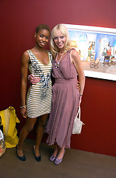 Left to right, Models TOLULA ADEYEMI and MARY MUNRO at a private view of artist Damian Elwes work 'Artists Studios' held at Scream, 34 Bruton Street, London W1 on 29th June 2006.<br /><br />NON EXCLUSIVE - WORLD RIGHTS