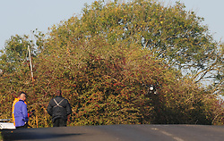 © Licensed to London News Pictures 25/10/2018<br /> Fawkham,UK.<br /> Police using a drone on Scratchers Lane.<br /> Scratchers Lane remains closed and will stay closed today while Kent police investigate.<br /> The search continues today for missing mother of five from New Ash Green Sarah Wellgreen.<br /> Photo credit: Grant Falvey/LNP