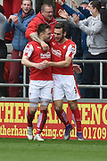 Rotherham United midfielder Lee Frecklington (8) celebrates scoring goal with Rotherham United defender (and former Brighton player) Joe Mattock (3)  to go 1-0 up during the Sky Bet Championship match between Rotherham United and Leeds United at the New York Stadium, Rotherham, England on 2 April 2016. Photo by Ian Lyall.