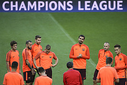 September 26, 2017 - Lisbon, Portugal - Barcelona's midfielder Sergi Roberto, Barcelona's defender Aleix Vidal, Barcelona's defender Lucas Digne, Barcelona's midfielder André Gomes, Barcelona's midfielder Andrés Iniesta, Barcelona's midfielder Denis Suárez and Barcelona's head coach Ernesto Valverde during the training session at Alvalade stadium in Lisbon,  on September 26, 2017, on the eve of the UEFA Champions League Group D football match Sporting CP vs FC Barcelona. (Photo by Filipe Amorim/NurPhoto) (Credit Image: © Filipe Amorim/NurPhoto via ZUMA Press)