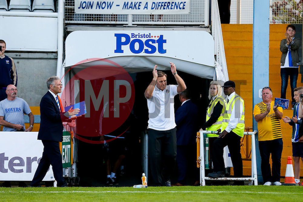 Former Bristol Rovers player and retiring team physio Phil Kite is introduced onto the pitch to a rousing applause ahead of the match - Mandatory byline: Rogan Thomson/JMP - 07966 386802 - 31/07/2015 - FOOTBALL - Memorial Stadium - Bristol, England - Bristol Rovers v West Bromwich Albion - Phil Kite Testimonial Match.
