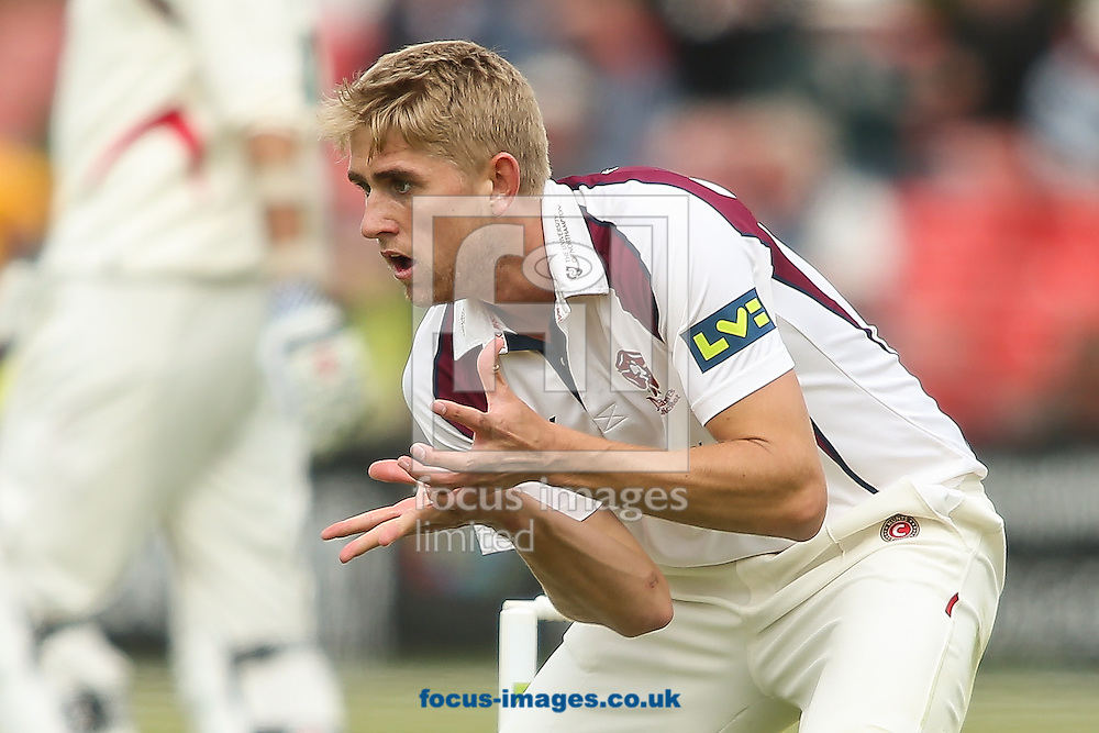 Olly Stone of Northamptonshire County Cricket Club fields during the LV County Championship Div Two match at Grace Road, Leicester<br /> Picture by Andy Kearns/Focus Images Ltd 0781 864 4264<br /> 27/04/2015