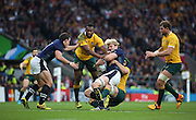 Scotland's Richie Gray getting wrapped up in a tackle during the Rugby World Cup Quarter Final match between Australia and Scotland at Twickenham, Richmond, United Kingdom on 18 October 2015. Photo by Matthew Redman.