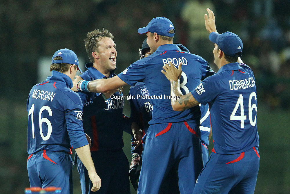 Graeme Swann of England celebrates the wicket of Kumar Sangakkara which puts Swann on a hat trick during the ICC World Twenty20 Super Eights match between England and Sri Lanka held at the  Pallekele Stadium in Kandy, Sri Lanka on the 1st October 2012<br /> <br /> Photo by Ron Gaunt/SPORTZPICS