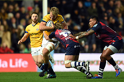 Josh McNally of Bath Rugby takes on the Bristol defence - Mandatory byline: Patrick Khachfe/JMP - 07966 386802 - 18/10/2019 - RUGBY UNION - Ashton Gate Stadium - Bristol, England - Bristol Bears v Bath Rugby - Gallagher Premiership
