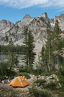 Alice Lake backcountry camp Sawtooth Mountains