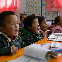 APRIL 3,2012 : Tibetan children study at a privately run Tibetan kindergarden in Tongren county.