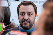 ROME, ITALY - FEBRUARY 13: Matteo Salvini, secretary of the Northern League during the meeting with Confcommercio (Italian General Confederation of Enterprises, Professional Activities and Autonomous Work) where presents the programme for the party for the upcoming general elections to be held on March 4 on February 13, 2018 in Rome, Italy. (Photo by Stefano Montesi - Corbis/Corbis via Getty Images)*** Local Caption ***Matteo Salvini