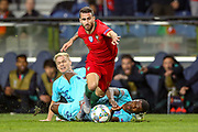 Portugal midfielder Rafa Silva (15) goes down under a challenge by Netherlands defender Denzel Dumfries (22)  during the UEFA Nations League match between Portugal and Netherlands at Estadio do Dragao, Porto, Portugal on 9 June 2019.