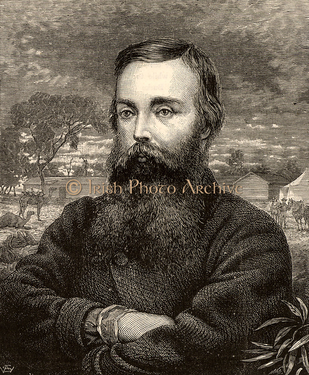 Robert O'Hara Burke (1820-1861) Irish explorer and leader of the Burke & Wills Expedition to explore the interior of Australia (1860-1861).  Burke and Wills died of starvation on their return journey.  Engraving from 'Heroes of Britain in Peace and War' by Edwin Hodder (London, c1880).