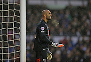 Derby County goalkeeper Lee Grant signals for calm during the Sky Bet Championship match between Derby County and Brighton and Hove Albion at the iPro Stadium, Derby, England on 12 December 2015.